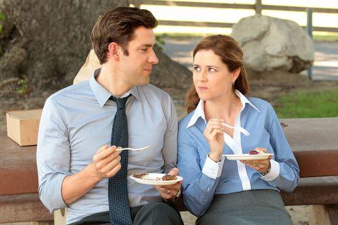Dress shirt, Sharing, Plate, Dessert, Eating, Tie, Conversation, Cuisine, Snack, Dish,