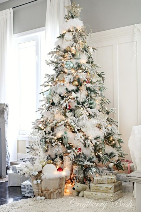 """<p><strong>What the song says about you:</strong> Soft snow falling through the trees outside. A fire blazing. Candles flickering in the windows. For you, Christmas is a quiet time, when you can feel the holiday magic in the air.</p><p><strong>How to decorate your tree: </strong>Blogger <a href=""""http://www.craftberrybush.com/2014/12/the-flocked-tree-secret-garland-revealed.html"""" target=""""_blank"""">Lucy of Craftberry Bush</a> used a fur garland to imitate soft mounds of snow throughout her Christmas tree. She hung metallic ornaments around the tree, and used neutral-colored decor around the base in lieu of a tree skirt.</p>"""