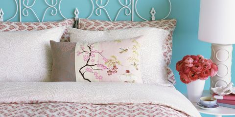 Room, Textile, Interior design, Pink, Linens, Bedding, Purple, Cushion, Bedroom, Home accessories,