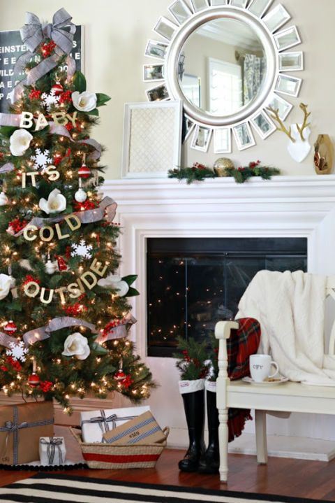 "<p><strong>What the song says about you:</strong> Christmas is for cuddling! Whether it's by the fire or next to the tree, you love snuggling up with a blanket and your loved ones during the holidays.</p><p><strong>How to decorate your tree:</strong> Follow <a href=""http://www.athoughtfulplaceblog.com/dream-tree-challenge-baby-its-cold/"" target=""_blank"">blogger Courtney</a>'s cue and take a more literal approach. Use gold glittered letters and string the song's title across your tree. Accent it with gold lights, red and silver ornaments, and poinsettias. <br></p><p><br></p>"