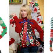 Sleeve, Fashion, Holiday, Denim, Blond, Christmas, Waist, Interior design, Christmas decoration, Sweater,