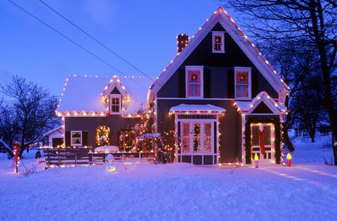 Winter, Window, Property, House, Home, Facade, Building, Snow, Purple, Real estate,