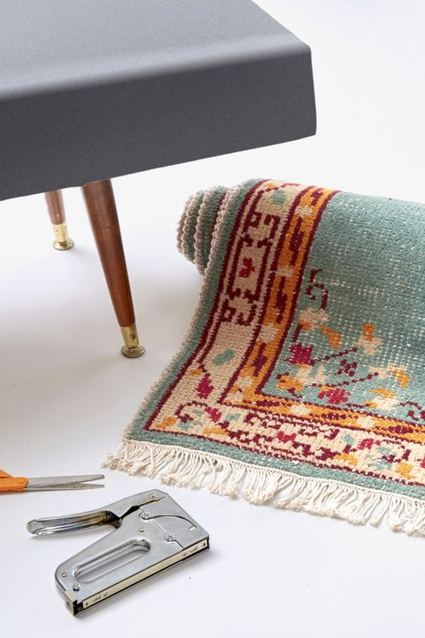 Rug upholstered bench