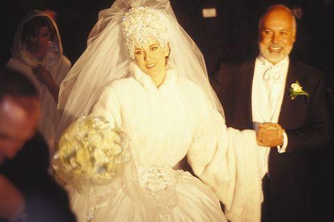 DECEMBER 15: Celine Dion's Wedding In Montreal, Canada On December 15, 1994-Celine Dion with husband Rene Angelil.