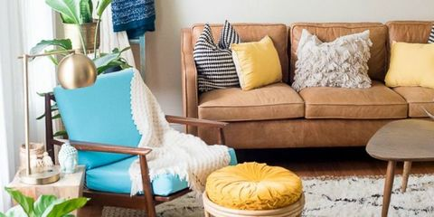 Blue, Brown, Yellow, Room, Interior design, Furniture, Home, Living room, Couch, Pillow,