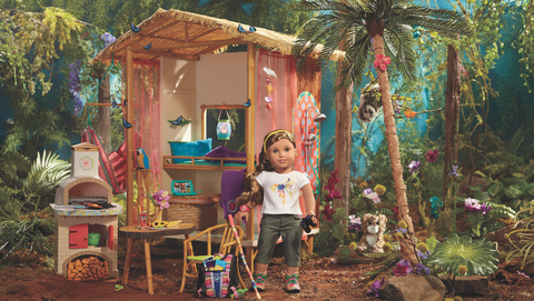Child, House, Toy, Garden, Door, Arecales, Stool, Cottage, Palm tree, Outdoor structure,