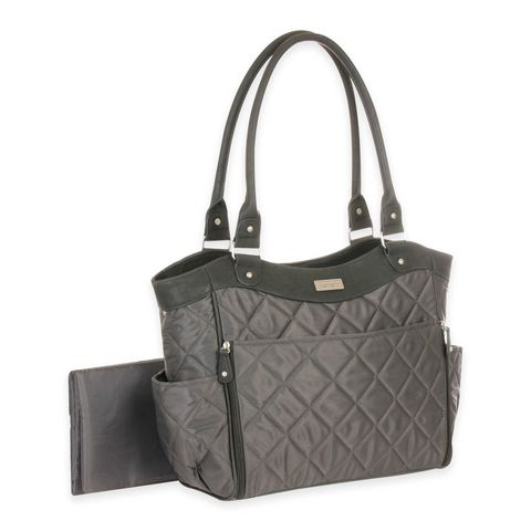 carters drop front quilted diaper bag grey
