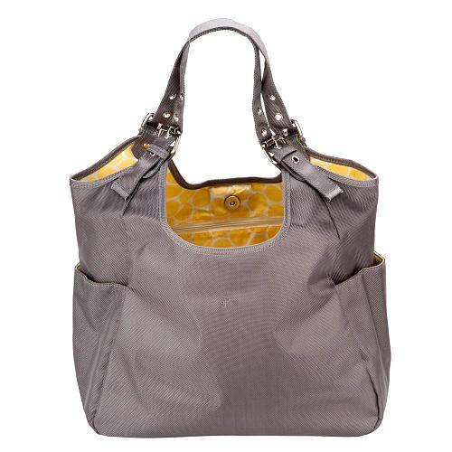 jj lizzy slate citron satchel diaper bag