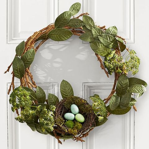 potterybarn rustic easter wreath with nest