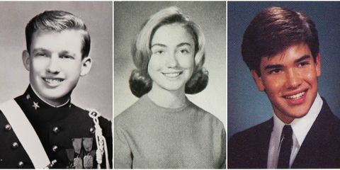 Donald Trump, Hilary Clinton and Marco Rubio Yearbook photos president candidate