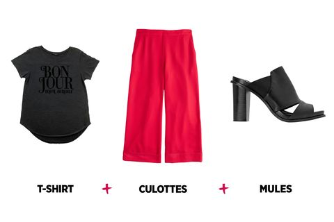 4ed7d9404de26 When tucked into bright, flouncy culottes, a graphic tee will give you the  perfect boss-lady style.