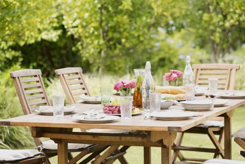 Furniture, Table, Outdoor furniture, Chair, Outdoor table, Linens, Home accessories, Centrepiece, Peach, Sun hat,