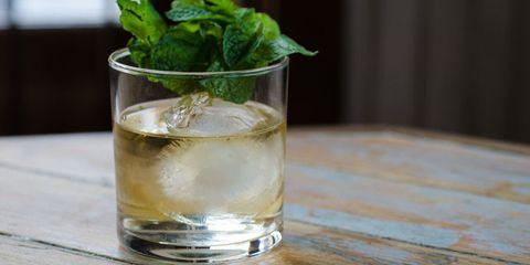 Fluid, Liquid, Glass, Drinkware, Drink, Alcoholic beverage, Leaf vegetable, Ingredient, Tableware, Distilled beverage,