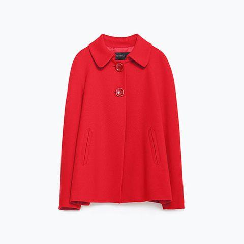 zara blazer with back pleat in red