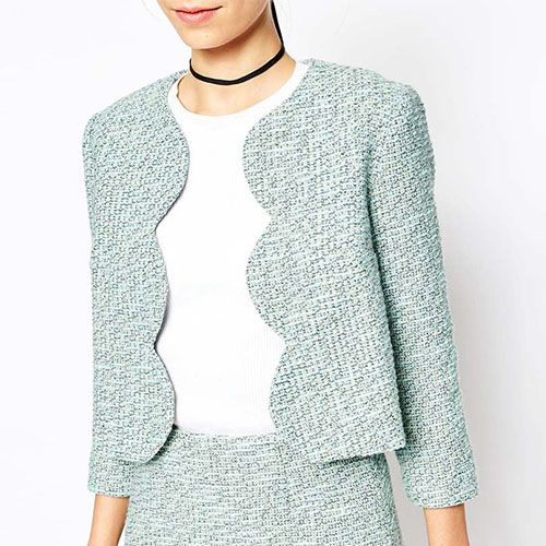 asks tweedy blazer with scallop edge in mint green