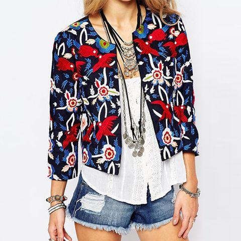 asos glamorous embroidered trophy jacket