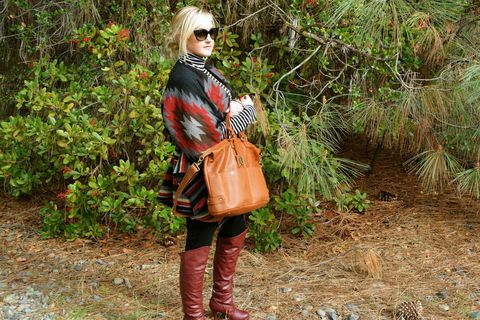 Outerwear, Bag, Boot, Sunglasses, Street fashion, Fashion accessory, Luggage and bags, Riding boot, Leather, Handbag,