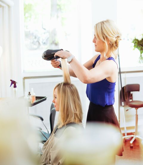 Hair, Hairstyle, Beauty salon, Hairdresser, Blond, Beauty, Wrist, Personal grooming, Long hair, Hair coloring,