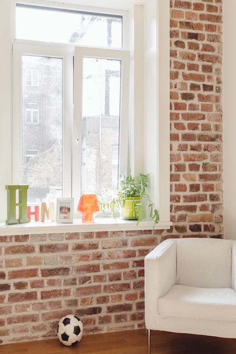 Brick, White, Room, Product, Orange, Wall, Brickwork, Property, Interior design, Window,