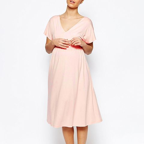 ASOS Maternity Midi Dress With Flutter Sleeves