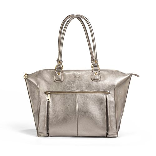 newlie lily tote diaper bag pewter