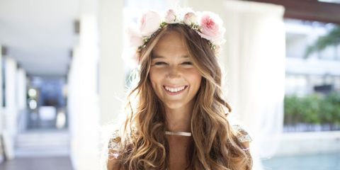Mouth, Lip, Hairstyle, Eye, Happy, Petal, Hair accessory, Facial expression, Style, Headpiece,