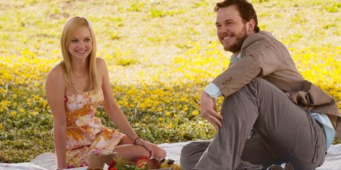 Sitting, Happy, People in nature, Facial expression, Dress, Picnic, Laugh, Spring, Wildflower, Love,