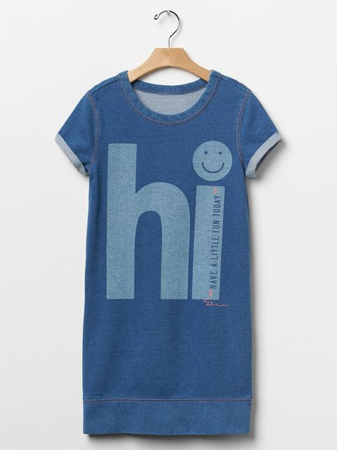 gap kids x ellen degeneres spring 2016 denim blue 'hi' dress