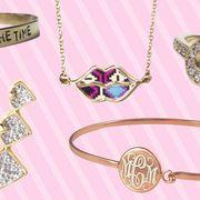 Pink, Font, Metal, Pattern, Jewellery, Earrings, Pendant, Chain, Body jewelry, Circle,