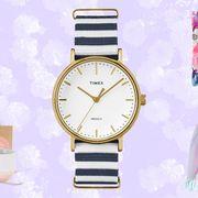 Product, Analog watch, Watch, Pink, Font, Watch accessory, Magenta, Fashion, Lavender, Clock,