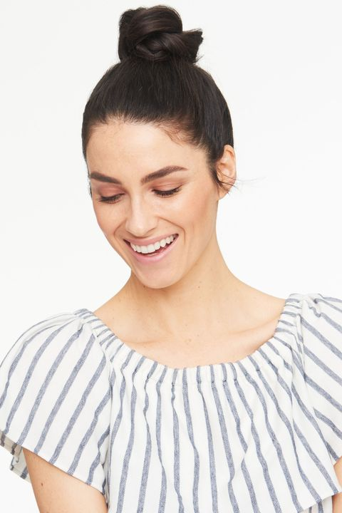 "<p>To get even more out of this yoga-to-brunch look, apply a nourishing damage repair treatment like <a href=""http://bit.ly/1UCWqHM"" target=""_blank"">Suave Coconut Oil Infusion Oil Treatment</a> before brushing your strands up into a high ponytail. Then, split the tail in half and twist the sections to create a rope-like texture. Wrap the tail around itself on top of your head and stick in u-shaped pins to keep it in place. </p><p><em></em></p>"