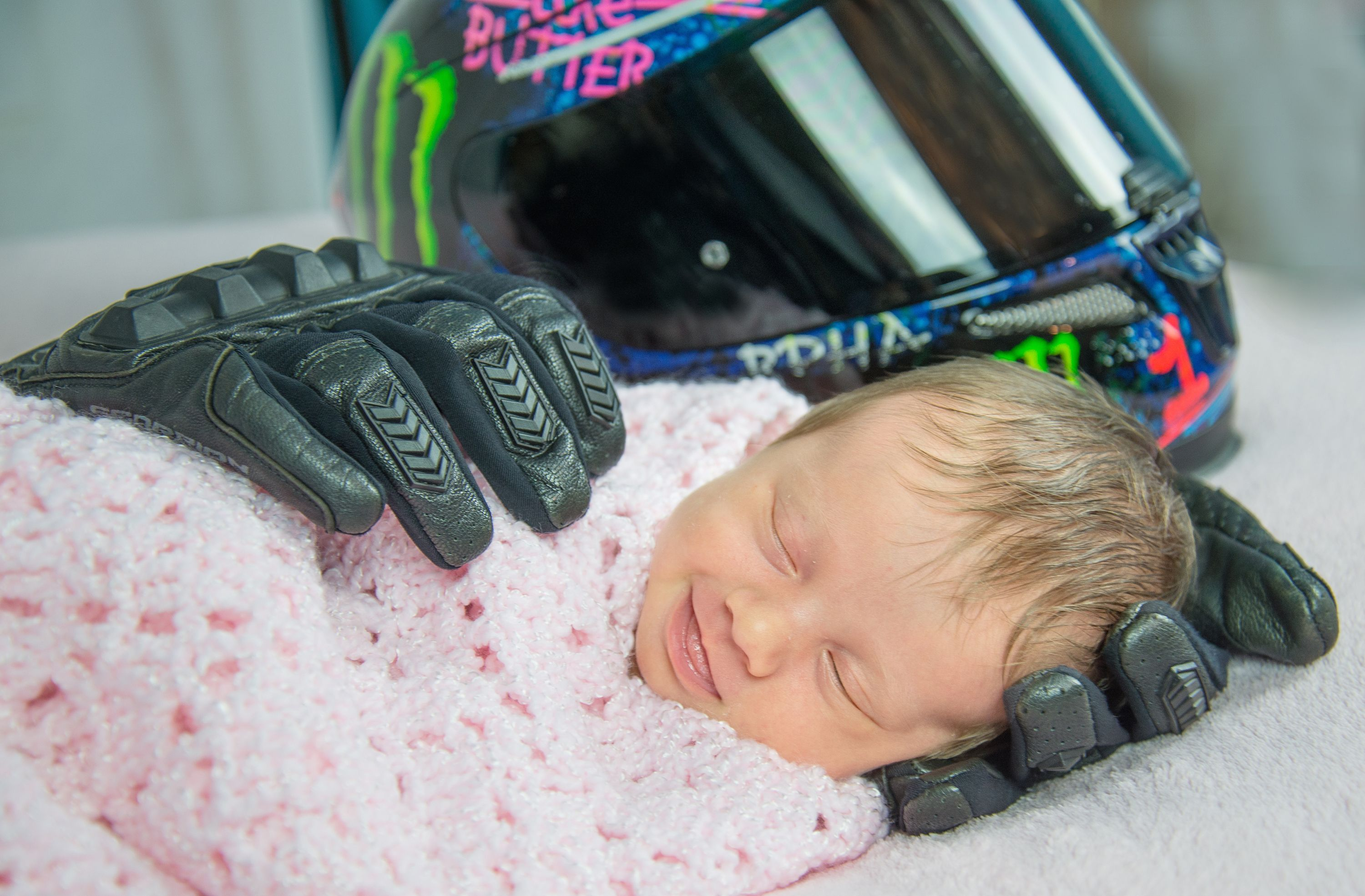 Newborn Poses With Her Late Fathers Motorcycle Gear in Heartbreaking Photo Series