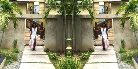 Plant, Photograph, Temple, Arecales, Waist, Palm tree, Courtyard, Outdoor structure, Walkway, Column,