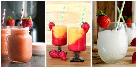 Food, Fruit, Produce, Natural foods, Ingredient, Strawberry, Tableware, Drink, Strawberries, Juice,
