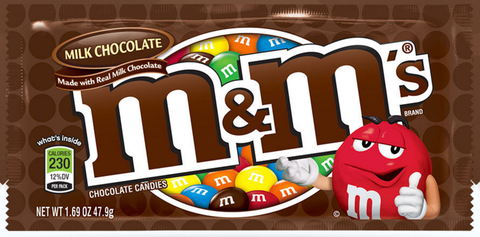 "<p><strong>M&M's</strong><br></p><p>These little candies have a very colorful <a href=""http://www.history.com/news/hungry-history/the-wartime-origins-of-the-mm"">origin story</a>. During the Spanish Civil war, Forest Mars Sr., son of the inventor of the Milky Way, witnessed soldiers eating small chocolate beads covered in hard sugar shells and was inspired. Chocolate sales typically dropped during the summer when temperatures rose and Mars was excited at the idea of inventing a product that wouldn't melt. He and Bruce Murrie, son of Hershey executive William Murrie, joined together to create the original M&M's (Mars + Murrie = M&M). </p><p>In 1941, Mars received a patent for his product and began mass-producing the little chocolate in Newark, NJ. They were originally sold in tubes and shelled in brown, red, orange, yellow, green, and violet coatings and only available to soldiers in the war. The candies were first stamped with a black ""M"" in 1950, which later changed to the white ""M"" we know and love today in 1954. </p>"