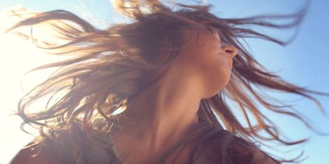 Brown, Hairstyle, Summer, People in nature, Sunlight, Beauty, Long hair, Brown hair, Surfer hair, Flash photography,