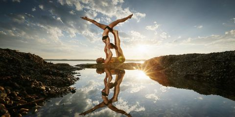 Wood, People in nature, Sunlight, Reflection, Balance, Exercise, Physical fitness, Jumping,