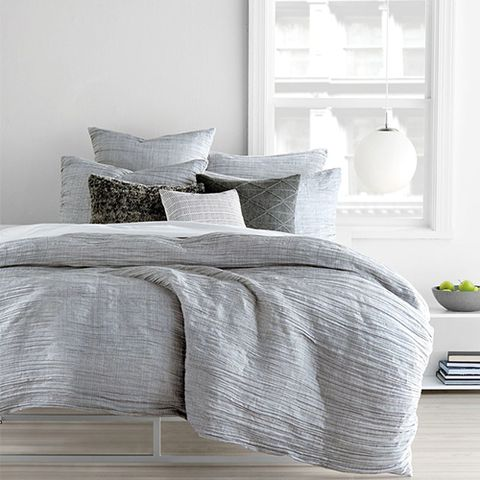 Window, Room, Textile, Interior design, Linens, Bedding, Bed sheet, Bedroom, Grey, Home accessories,