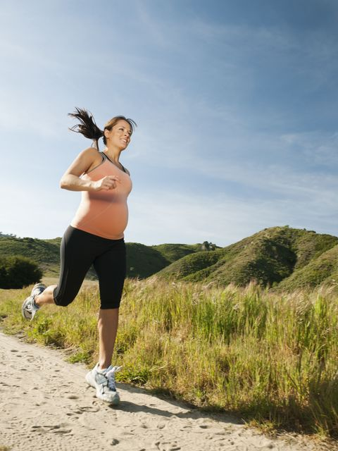 pregnant woman running