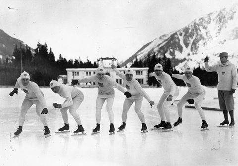 """<p>At the first official Winter Olympics (though it would only be recognized as such after the fact, two years later), American Charles Jewtraw (third from right, above) brought home the very first gold medal after he won the <a href=""""http://www.historybyzim.com/2014/02/charles-jewtraw-the-1924-winter-games/"""" target=""""_blank"""">500 meter speed skating competition</a>.</p>"""