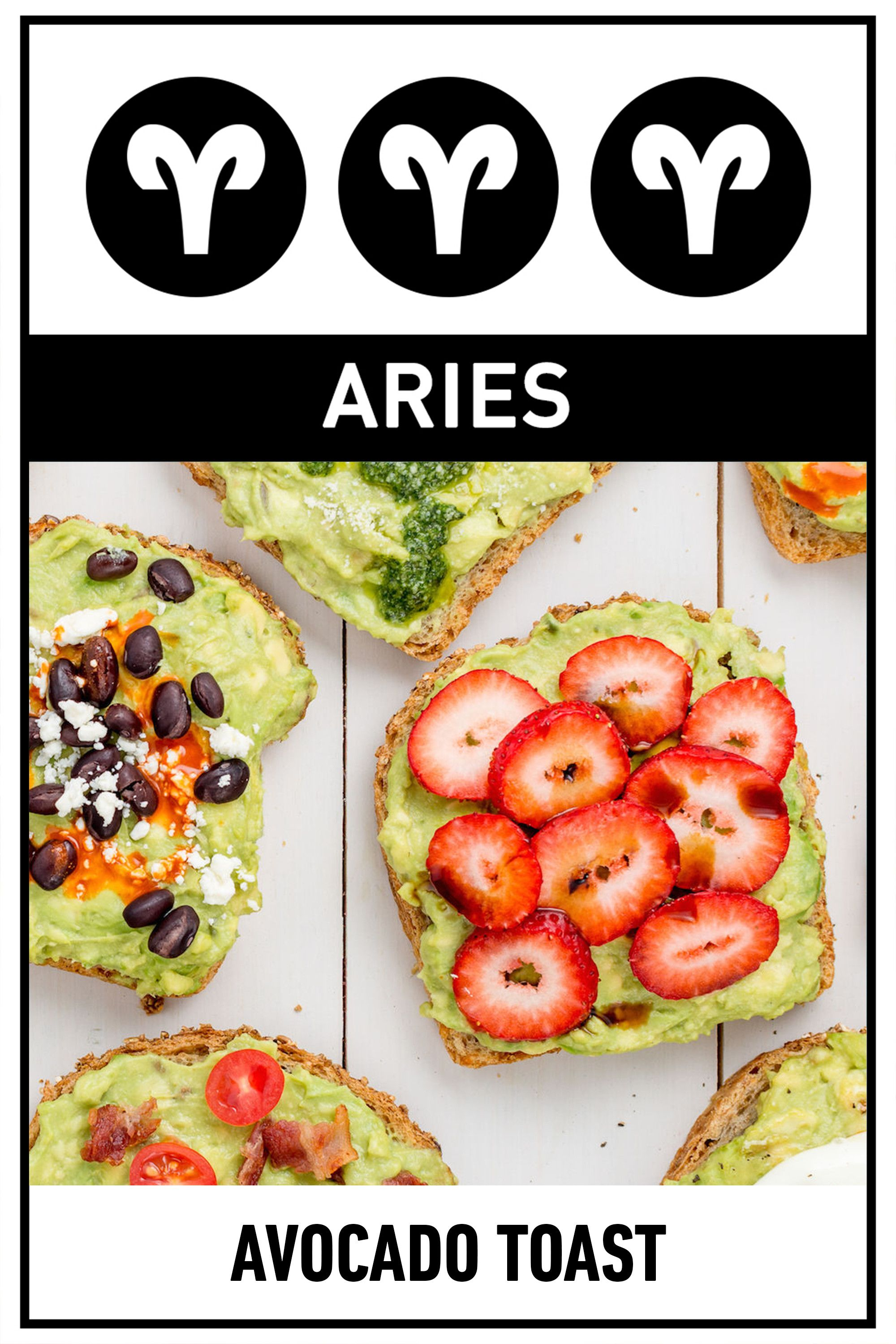 "<p><strong>Your Perfect Breakfast:</strong> Avocado Toast</p><p><strong>Why:</strong> You're the first one to try something new, so while your friends are still raving about overnight oats, you've already moved on to avocado toast. Aries are known for their drive—and for keeping active—which is why you need a breakfast that can fill you up without weighing you down.</p><p>Get the <a href=""http://www.delish.com/cooking/videos/a45499/avocado-toast-cheat-sheet/"">recipe</a>.</p>"