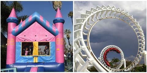 amusement park ride dangers roller coaster bounce house