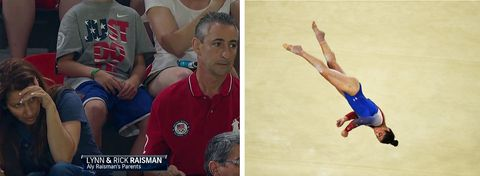 "<p>Watching <a href=""http://www.redbookmag.com/life/a45476/aly-raismans-parents-were-anxious-during-gymnastic-qualifier/"" target=""_blank"">Lynn and Rick Raisman</a> in the crowd is as entertaining as watching their daughter — and if Olympic spectating were a sport, this duo would consistently land on the top of the podium. </p><p><strong>RELATED: <a href=""http://www.redbookmag.com/life/a45363/why-do-we-love-gymnasts-so-much/"" target=""_blank"">Why Are We So Obsessed With Gymnasts?</a><a href=""http://www.redbookmag.com/life/a45363/why-do-we-love-gymnasts-so-much/""></a></strong><br> </p>"