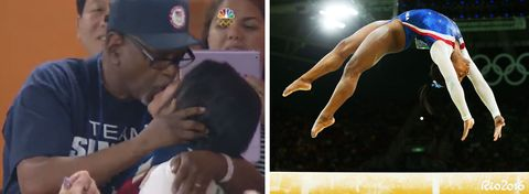 "<p>Biles was the darling of this year's Olympics, taking home a whopping four gold medals in the gymnastics competition. Her adorable grandparents witnessed all the action in Rio, <a href=""http://www.redbookmag.com/life/a45509/team-usa-gymnasts-over-parents-pda/"" target=""_blank"">smooching every time</a> their girl nailed a routine (see the 0:11 mark above). </p><p><strong>RELATED: <a href=""http://www.redbookmag.com/life/g3607/who-is-simone-biles/"" target=""_blank"">13 Fun Facts That Will Make You Love Simone Biles</a><span class=""redactor-invisible-space""><a href=""http://www.redbookmag.com/life/g3607/who-is-simone-biles/""></a></span></strong><br> </p>"