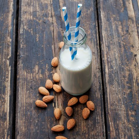 """<p>Mmmmm...almond milk-banana shakes are just the best. """"Fortified plant milks are great for their optimal bone-supportive nutrients,"""" says<a href=""""http://plantbaseddietitian.com/"""" target=""""_blank""""> <u>Julieanna Hever</u></a>, a plant-based dietitian. """"Include a serving or two of hemp, soy, almond, or rice milk fortified with calcium and vitamin D [into your daily diet]. This will provide you with the same quantity of bone-building nutrients as dairy milk without the hormones [that can be found in conventional dairy] and saturated fat."""" Make sure to look for ones enriched with these nutrients and don't buy sweetened varieties, which can be massive sugar bombs.</p>"""