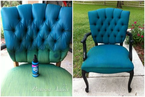 "<p>This blogger succeeded in changing this chair's color with some spray fabric paint.</p><p><a target=""_blank"" href=""http://www.apinterestaddict.com/2011/12/28/thrifty-thursday-spray-paint-chair/""><em>See more at Pinterest Addict »</em></a></p>"
