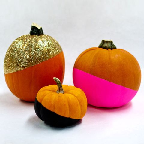 P These Look So Mod And Pretty Much Any Color Goes With Orange Ciera Design Paint Dipped Pumpkins