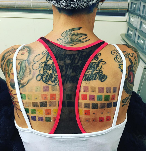 "<p>The actress added to her myriad of tattoos with a set of Pantone color swatches. ""Guys Home Depot is trying to save paper...So now you can order me and I will stand facing your wall until you pick the color you like,"" she <a href=""https://www.instagram.com/p/BJsJHQrALNd/"" target=""_blank"">wrote on Instagram</a>.&nbsp;""I'll even stand facing the wall as you have breakfast and as you're watching tv at night so you can see the colors at different times. Offer limited. Conditions apply. *this is a completely false ad.""</p>"