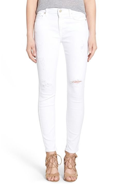7 for all mankind distressed white skinny jeans