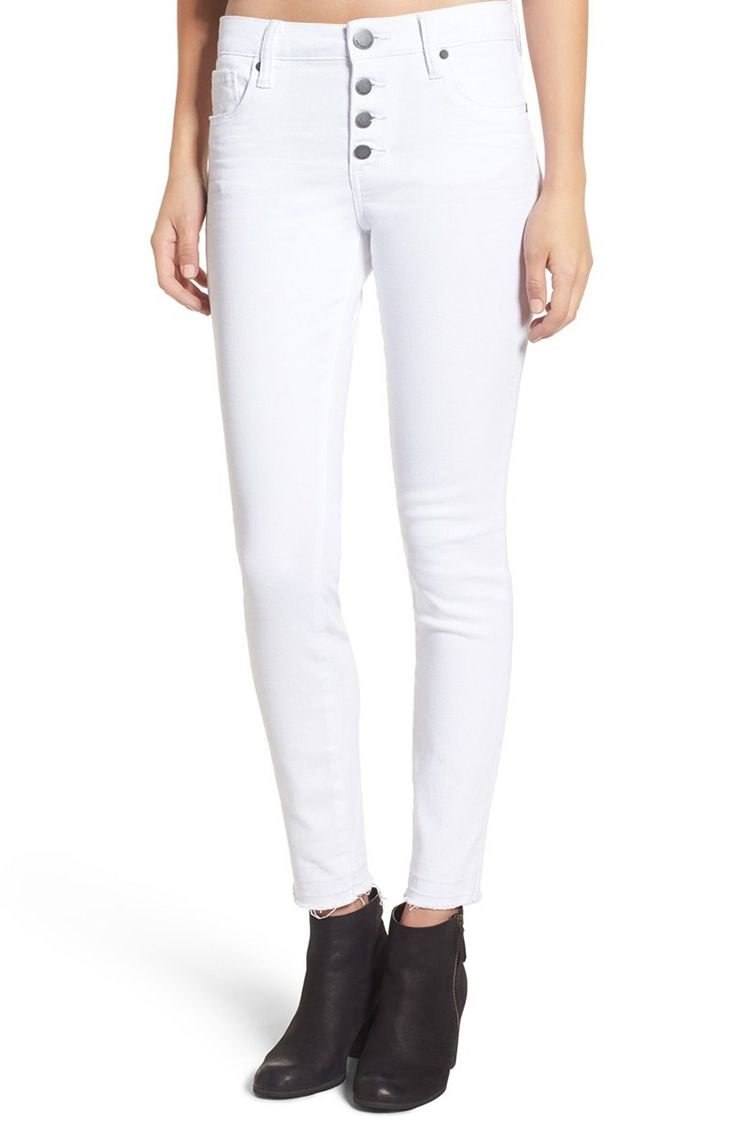 STS button front white skinny jeans